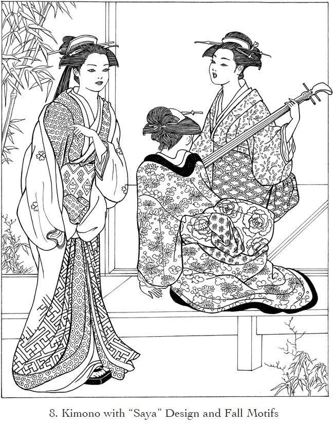 Creative Haven Japanese Kimono Designs Coloring Book Dover