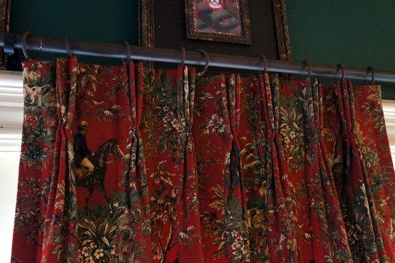 Ralph Lauren Curtain Panel Equestrian Toile Curtain By Zelieslace