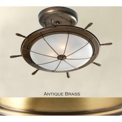 Lustrarte 689/48-0622 Antique Brass Leme Two Light 18.9 Inch Wide Semi-Flush Ceiling Fixture from the Leme Collection 689/48
