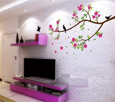 Syga Flowers Tree Pvc Vinyl Sticker Price In India Buy Syga Flowers Tree Pvc Vinyl Sticker Online At F Wall Stickers Living Room Wall Mural Decals Plum Walls