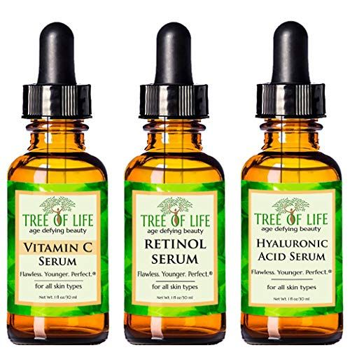 Anti Aging Serum 3-Pack for Face – Vitamin C Serum, Retinol Serum, Hyaluronic Acid Serum – Face Serum Full Regimen #faceserum