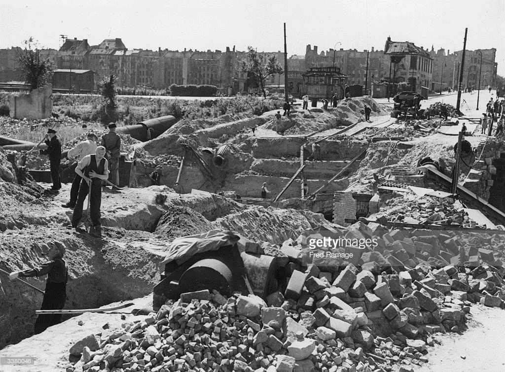 At work clearing Berlin's ruins. The dangerous buildings were blown up and reduced to rubble.