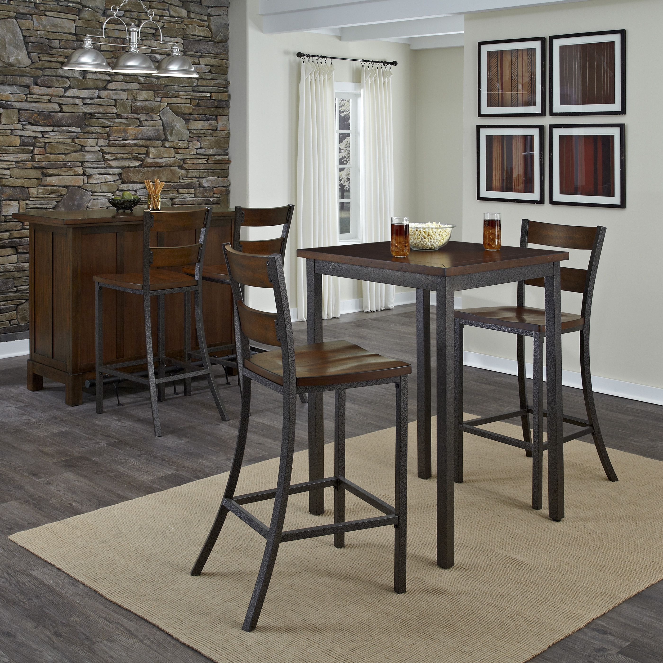 Pub Dining Set 3 Piece Table and Chairs Set Breakfast Kitchen ...
