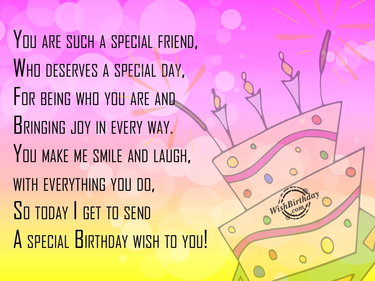 Special Birthday Wish To You Birthday cards for friends