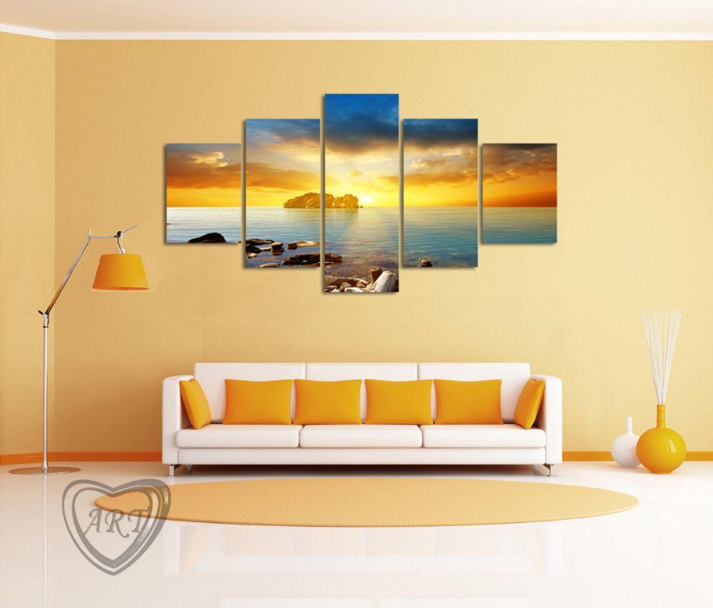 Sunset Seascape With Sea Stones https://walldecordeals.com/5-piece ...