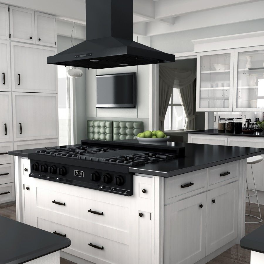 Zline 48 In Porcelain Rangetop In Black Stainless With 7 Gas