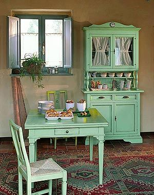 muebles comedor vintage verde agua | komod | Kitchen decor, Small ...