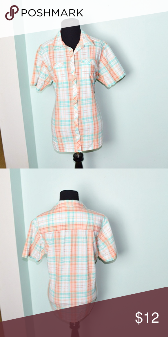 b9f628682bf3a Beautiful Peach and Light Blue Plaid Button Down In excellent condition!  Very comfortable, lightweight, and stretchy! Buy 3 items and get 1 free  plus 15% ...