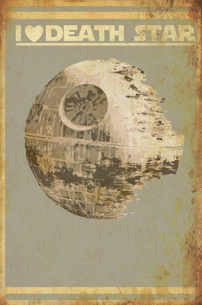 Star Wars print poster movie art of I Heart Death Star Size B. $40.00, via Etsy.