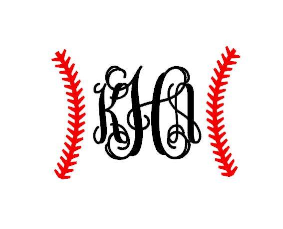 baseball stitches monogram instant download cut file svg dxf eps