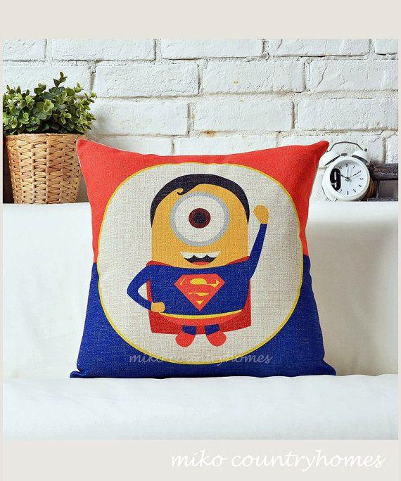 $13.99 | Despicable Me Minions Superheroes | Superman | Throw Pillow Cover | 45x45cm 18x18 #despicableme #minions #pillowcover