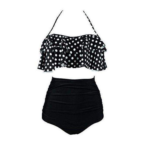 550b07907f Rotita Ruched Polka Dot Print Two Piece Swimwear ($28) ❤ liked on Polyvore  featuring swimwear, bikinis, bathing suit, black, swimsuits two piece, ...
