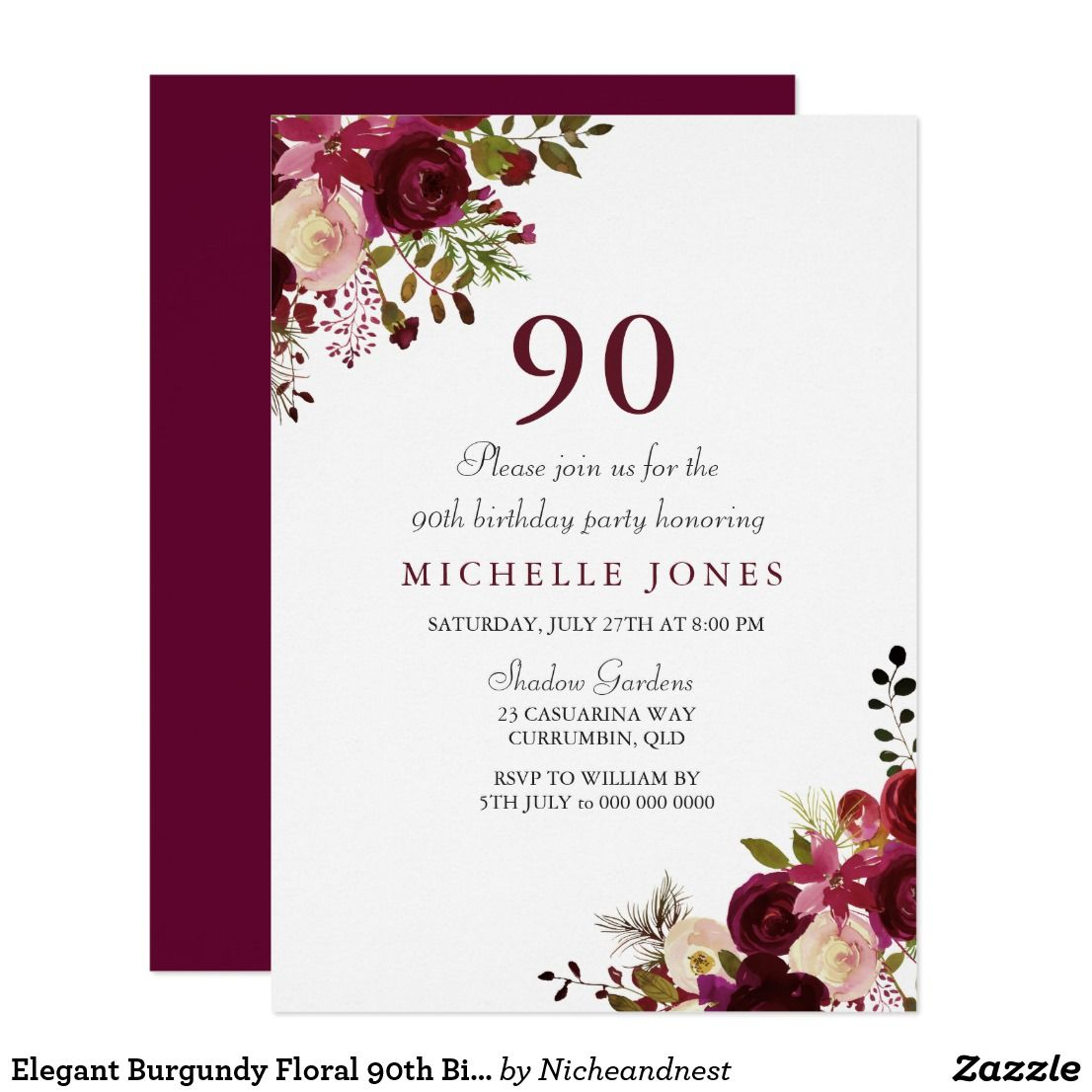 Elegant Burgundy Floral 90th Birthday Invitation Matching Collection In Niche And Nest Store