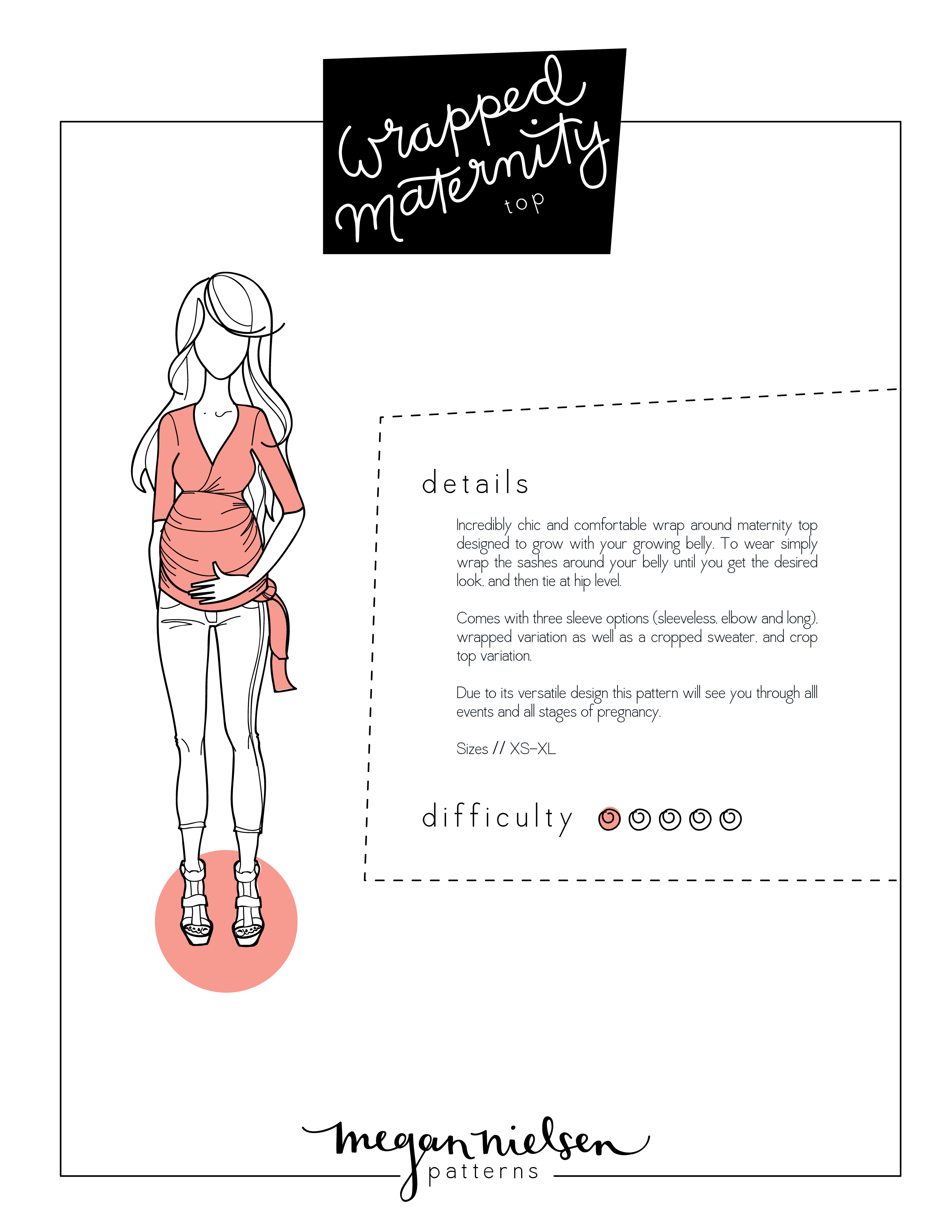 2331a983f23e2 Megan Nielsen Wrapped maternity top sewing pattern // Now available as an  instant download PDF!!!