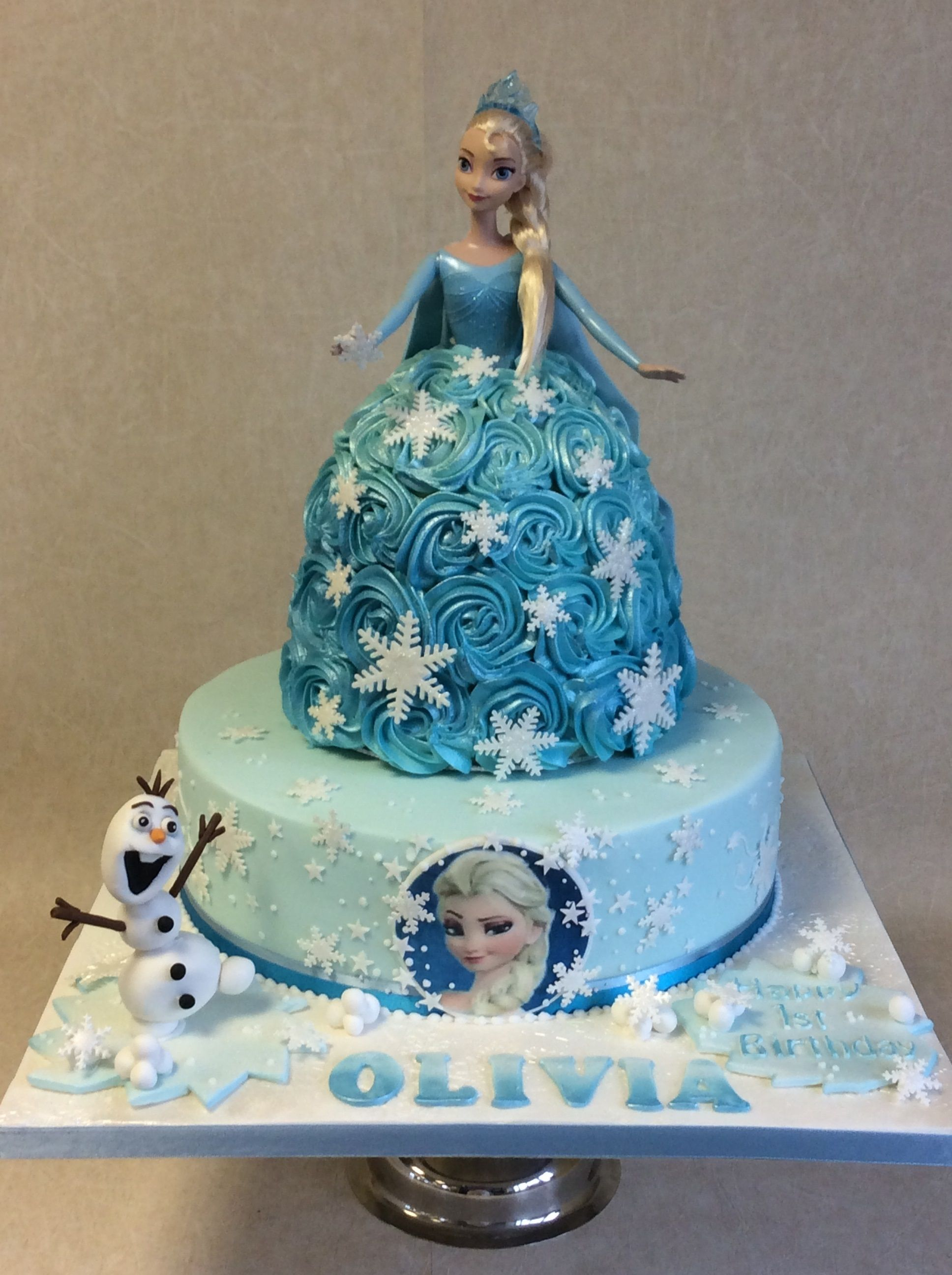 Large Frozen Themed 1st Birthday Cake With Princess Elsa Doll Top