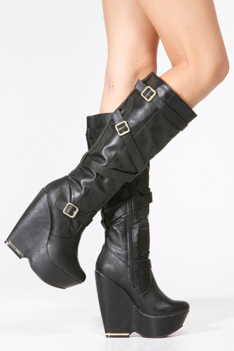 a4266f15ee8 Black Faux Leather Gold Accent Platform Wedge Boots-Women Boots-Knee High  Boots