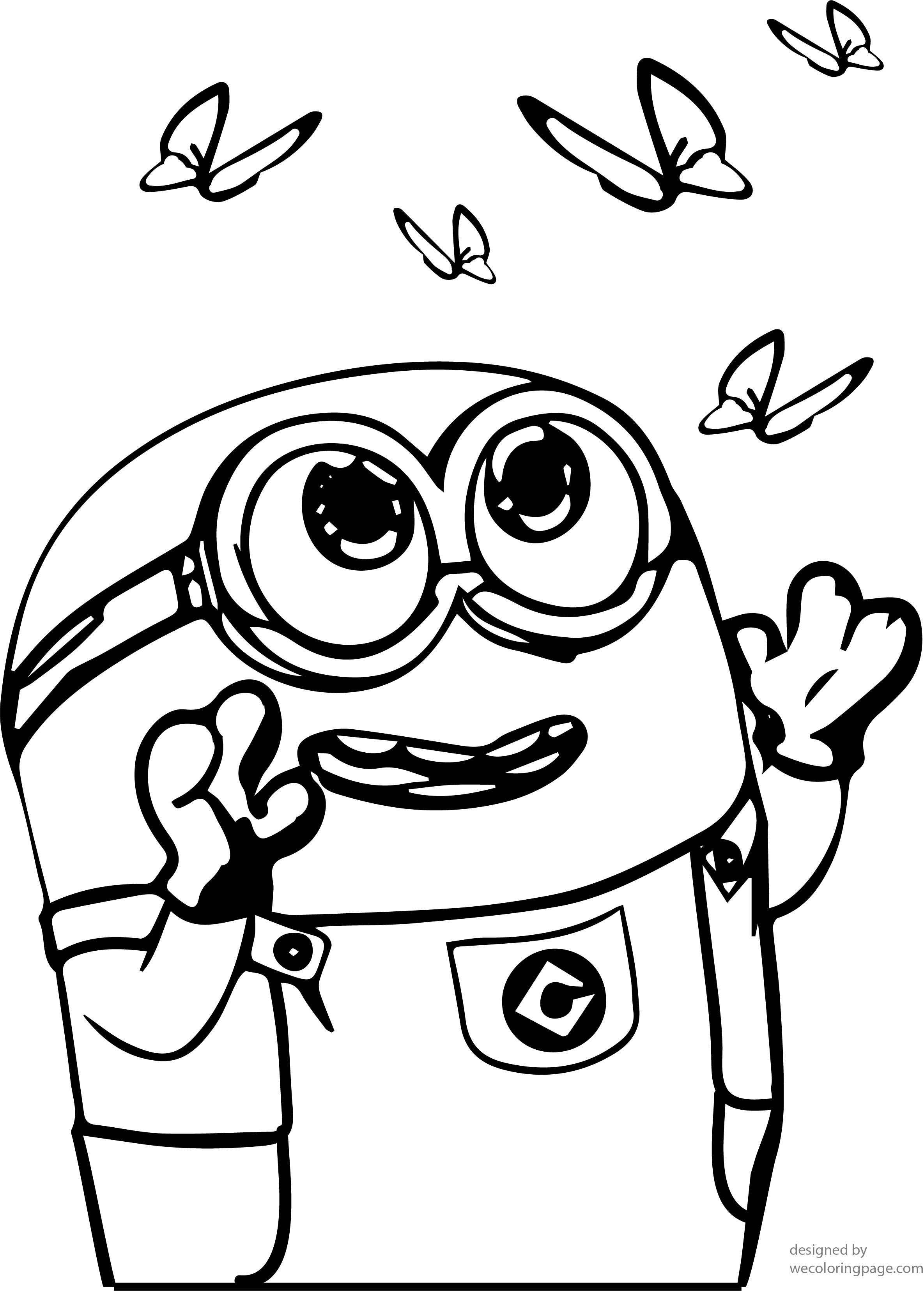minion catch butterfly coloring page wecoloringpage