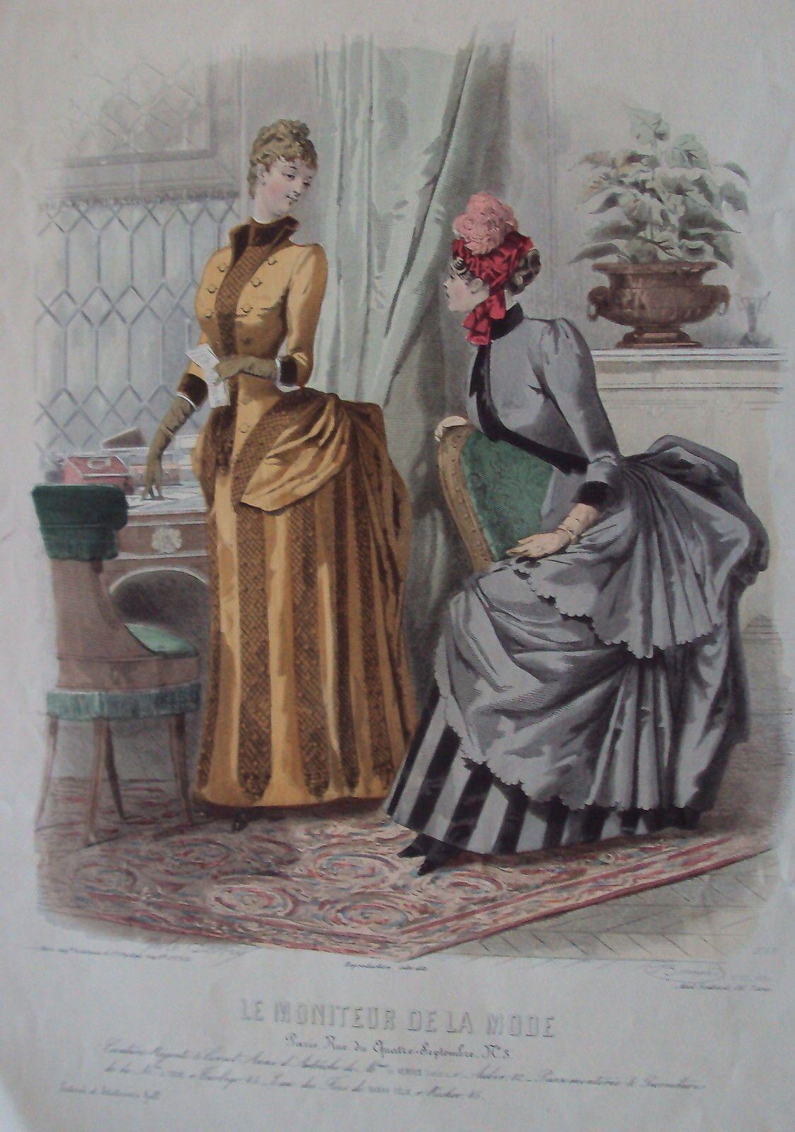 gravure le moniteur de la mode robes anciennes n° 47 - 1884