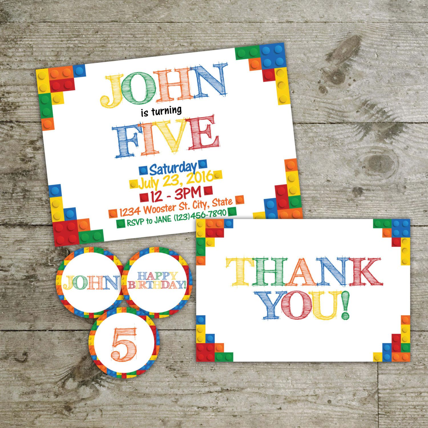 Lego invitation, Lego cup cake toppers, Lego thank you card, Lego ...