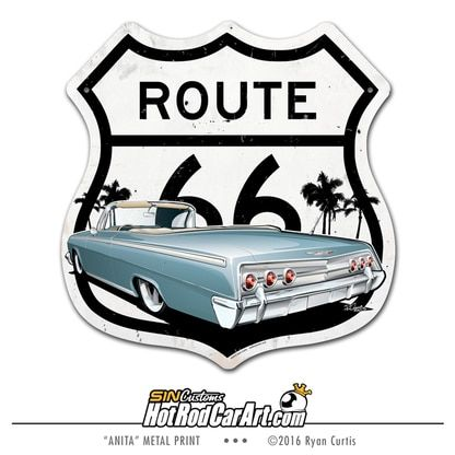 1962 Impala – Route 66 – Metal Street Sign