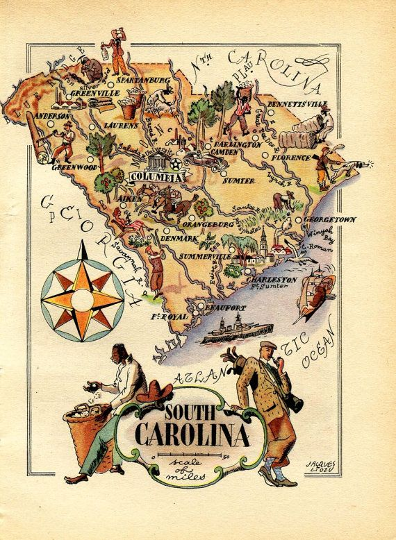 1946 Vintage Map of South Carolina United States USA Illustrated
