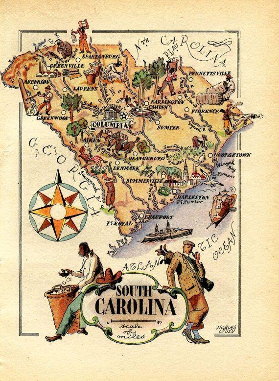 1946 Vintage Map of South Carolina United States USA Illustrated