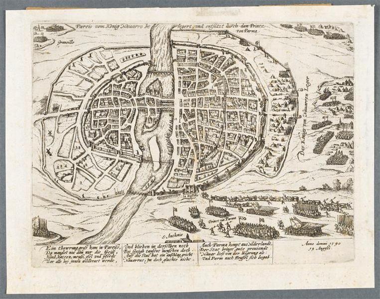 19.08.1590.Henri IV obligé de lever le siège de Paris. (19 aôut 1590) HOGENBERG François (graveur) Германия.25.9х32.4.Pau, musée national du château de Pau.