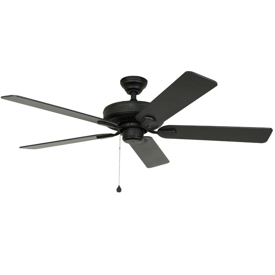 Shop harbor breeze classic 52 in matte black outdoor downrod or shop harbor breeze classic 52 in matte black downrod mount indooroutdoor ceiling fan energy star at lowes aloadofball Image collections