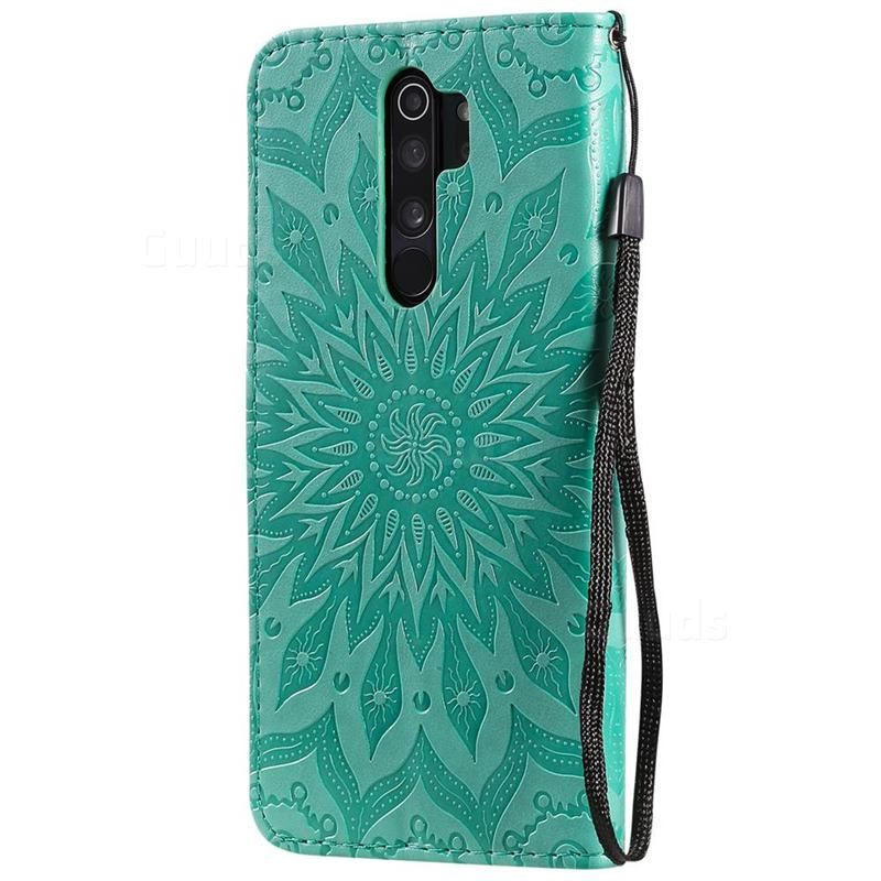 Embossing Sunflower Leather Wallet Case For Mi Xiaomi Redmi Note 8 Pro Green Xiaomi Redmi Note 8 Pro Cases Guuds Leather Wallet Case Wallet Sewing Pattern Leather Wallet