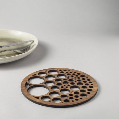 Bubbles drinks coasters in genuine walnut, geometry, circle packing - Denvers Designs