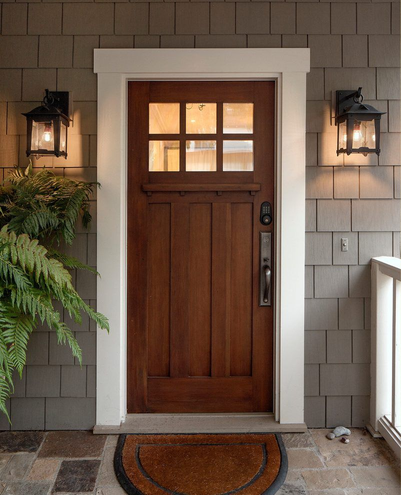 Craftsman Exterior Door Entry Craftsman With White Trim
