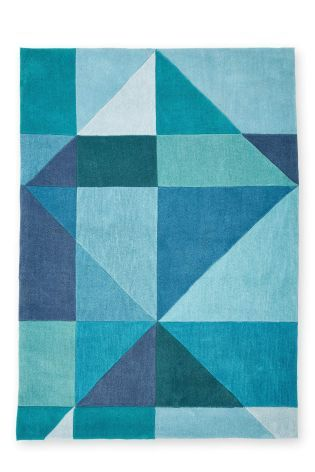 Acrylic Teal Broken Diamond Rug From The Next Uk Online