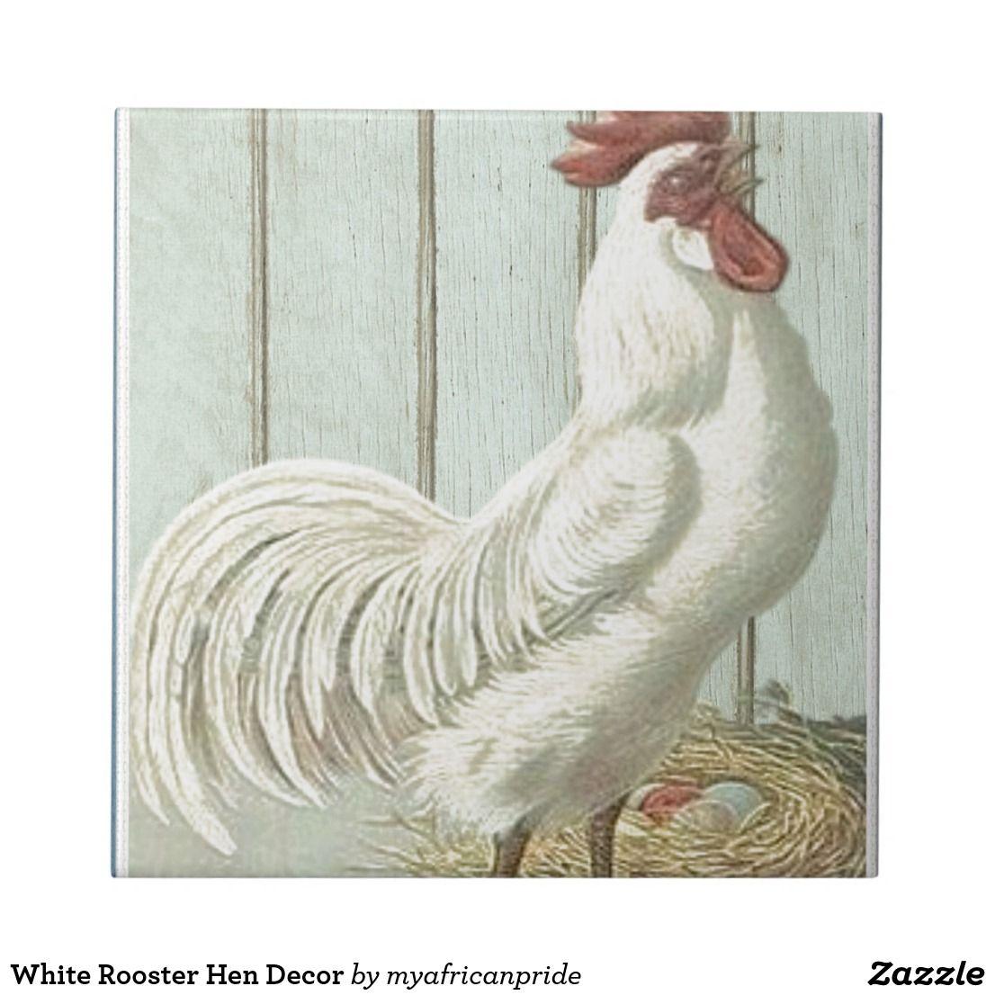 White Rooster Hen Decor Tile