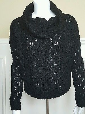 Black Sanctuary Cowl Neck Long Sleeve Chunky Sweater Small New With Tags
