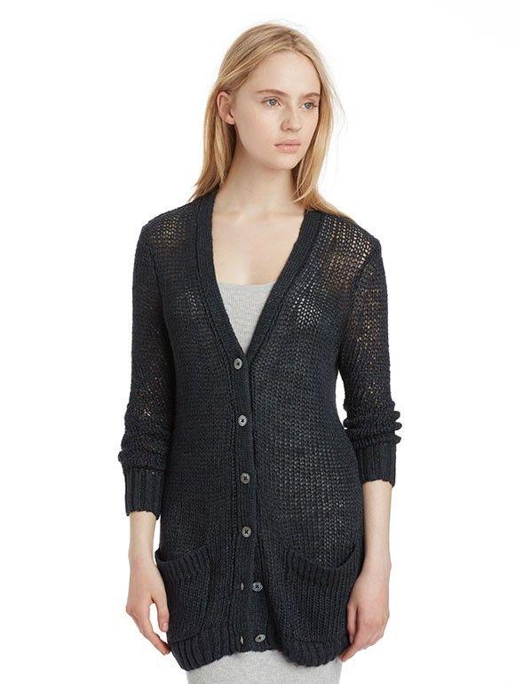 INHABIT Womens Loose Knit V-Cardigan - Charcoal