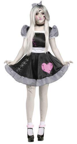 Womens Broken Doll Costume Black White Cracked Dolls Fancy Dress