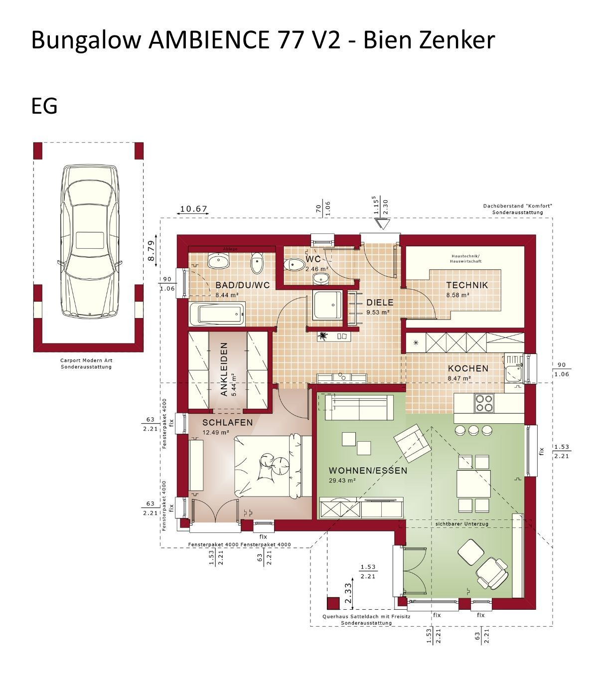 Bungalow Haus Mit Satteldach Und Carport Fertighaus Bauen Grundriss Einfamilienhaus Solution 78 V3 Living Ha Small House Plans Architecture House House Plans