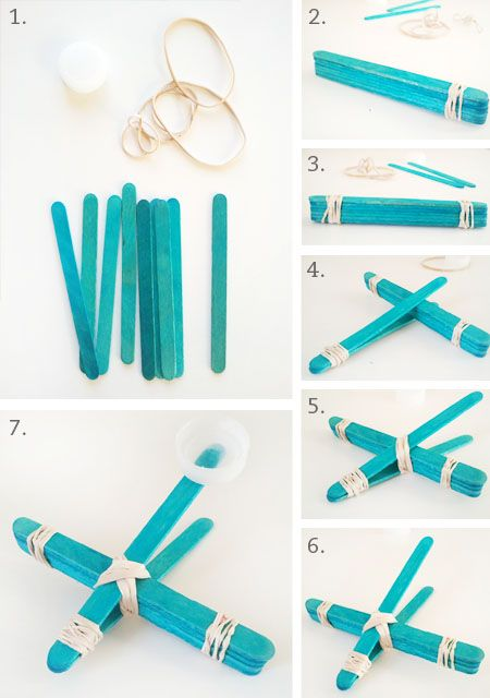 Catapult   Materials: craft sticks, rubber bands, 1 lid (Spoon or lid from milk jug, soda bottle, etc), glue gun or glue, and stuff to throw (cotton balls, scrunched up paper balls, etc)   Instructions: http://littlepaperdog.blogspot.com/2012/11/popsicle-stick-airplane-catapult.html