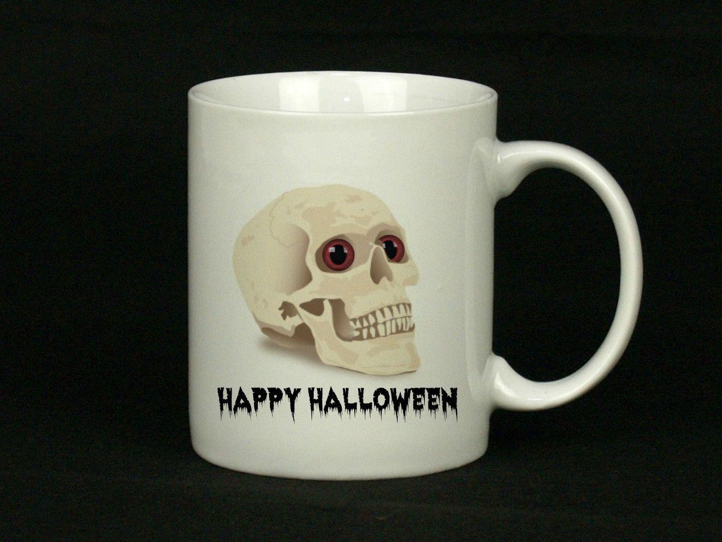 happy halloween mug, skeleton mug, coffee mug, 15oz, mug