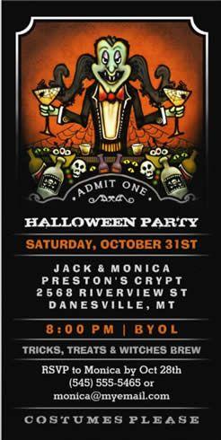 Halloween Party Dracula Fun Invite Ticket | Halloween Party ...