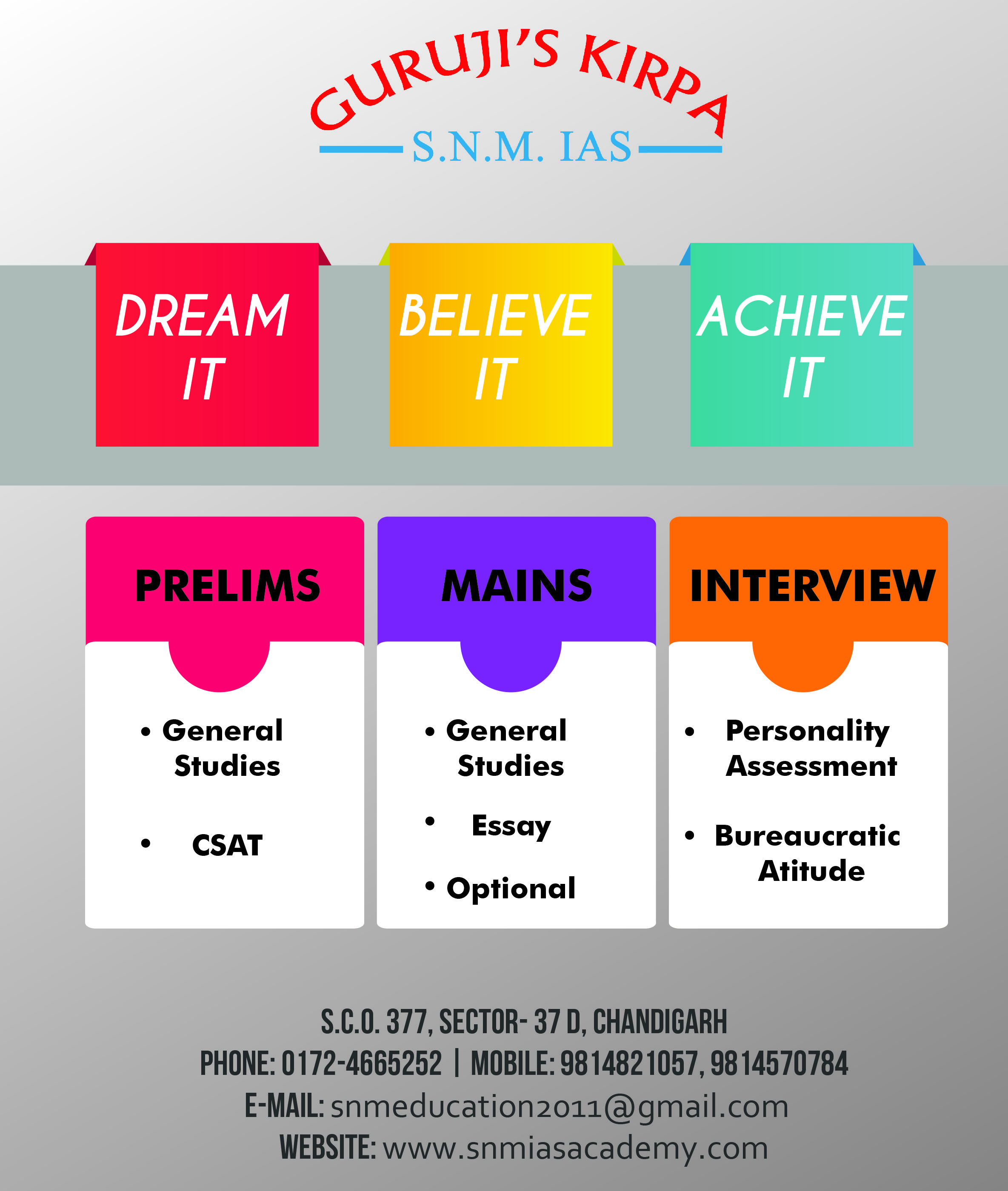 SNMIASACADEMY is now at you city Chandigarh for IAS ,PCS