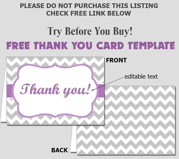 FREE Folded Thank You Card Template - DIY Editable Template - FREE