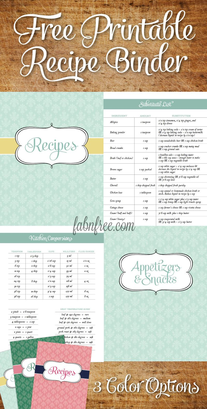 Free Recipe Binder in 3 Color Options | Recipe binders, Binder and ...
