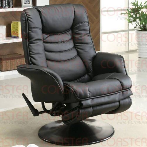 Swivel Recliner Chair With Flair Tapered Arm In Black Leatherette By  Coaster Home Furnishings. $230.96. Easy Assembly Required. Introduce Casual  Stu2026