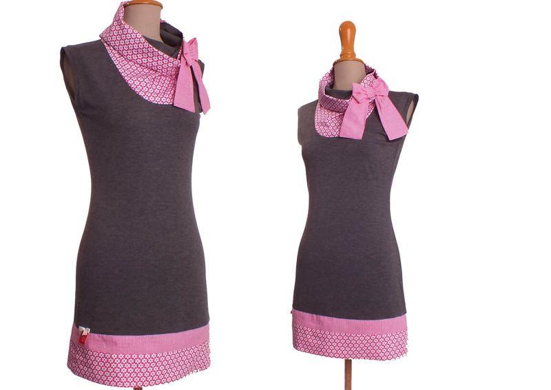 Kleid Leni grau pink von lisi-design auf DaWanda.com