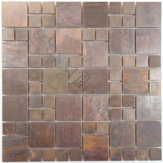 Sheet Size 11 3 8 X 11 3 8 Tile Size Random Squares Tiles Per Sheet 70 Tile Thickness 1 4 Grout Joints 1 8 Sh Metal Tile Backsplash Tiles Copper Backsplash