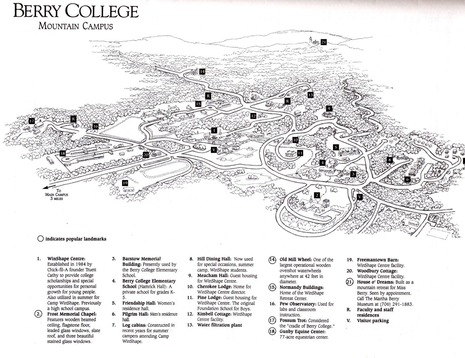 Campus Map Mountain Campus Berry College Rome Georgia