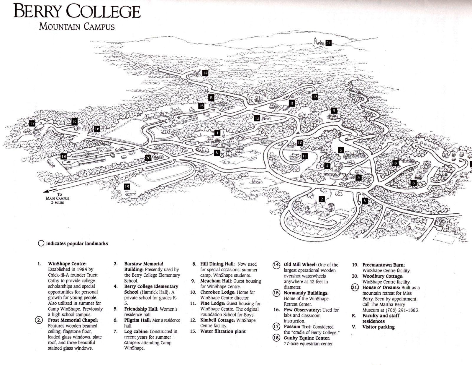Campus map (Mountain Campus), Berry College | ROME   Georgia