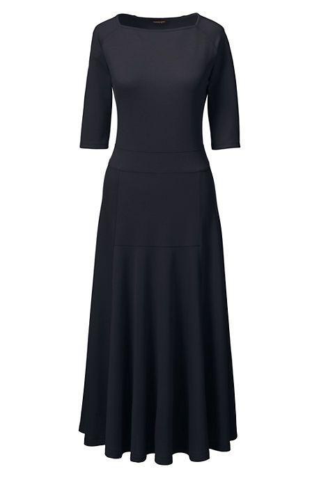 Women's Petite Elbow Sleeve Pont&eacute Flounce Dress