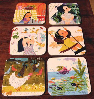 Book illustration coasters